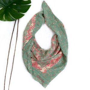 Silk Ralph Lauren Pink Green Soft Square Scarf